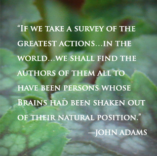 """If we take a survey of the greatest actions���in the world���we shall find the authors of them all to have been persons whose Brains had been shaken out of their natural position."" John Adams"